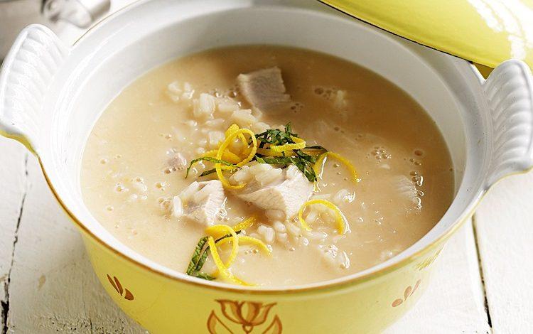 سوپ مرغ به روش یونانی