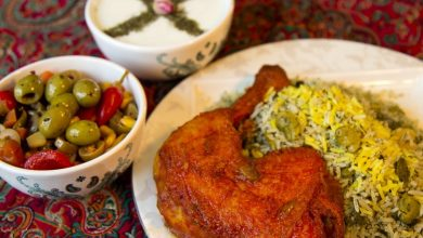 باقالی پلو با مرغ
