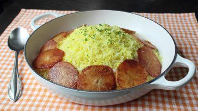 برنج آبکش با ته دیگ سیب زمینی