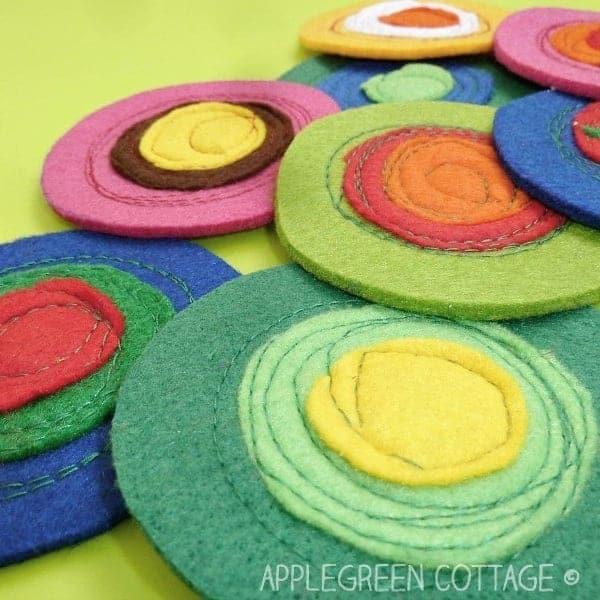 ایده ای زیر لیوانی با نمد در رنگ های مختلف