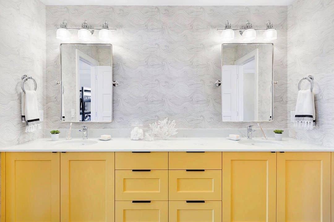 طراحی و دکوراسیون مدرن حمام به رنگ زرد